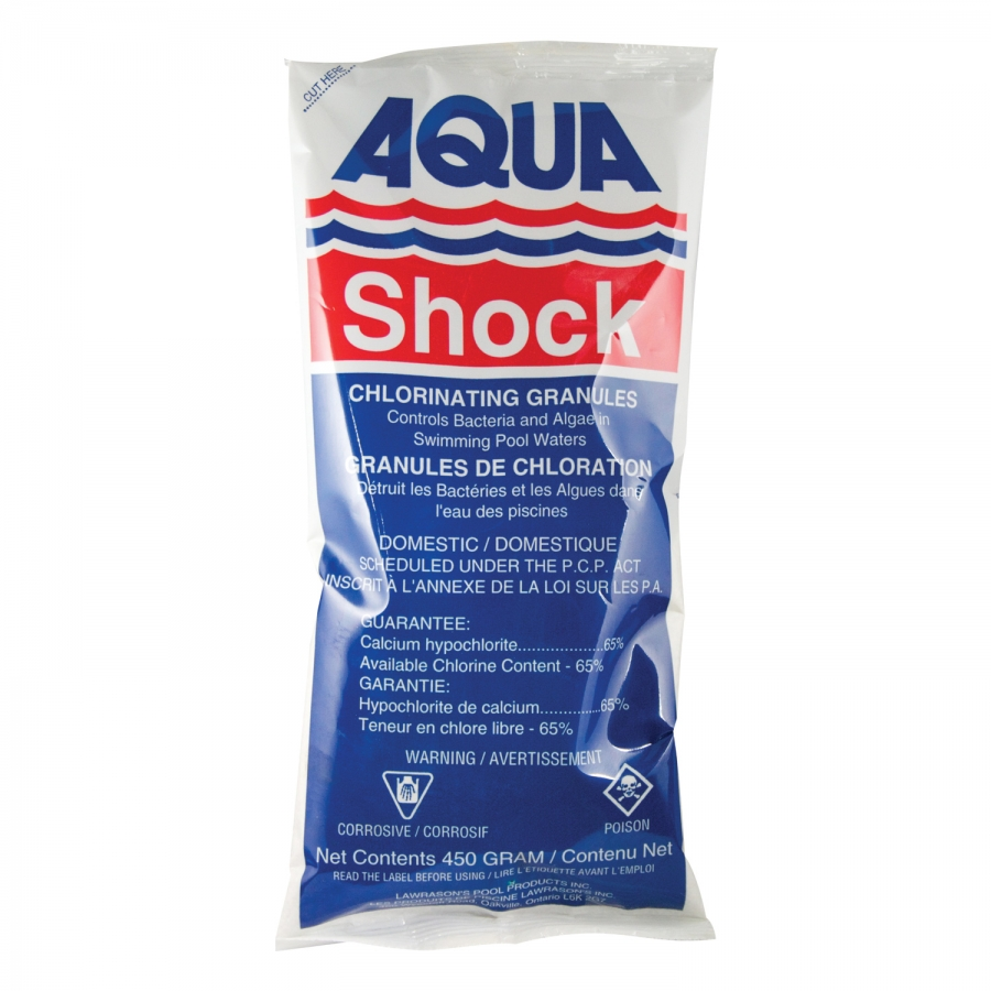 Lawrason 39 s inc pool and spa products aqua shock 450 g for Putting shock in pool